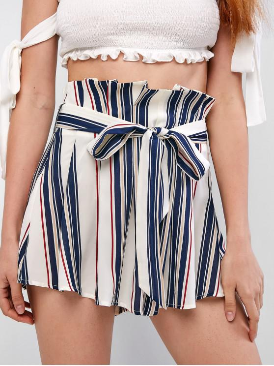 shops ZAFUL Striped Belted Paperbag Shorts - WHITE M