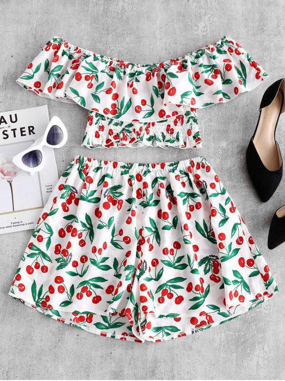 womens ZAFUL Cherry Print Flounce Smocked Two Piece Set - WHITE M