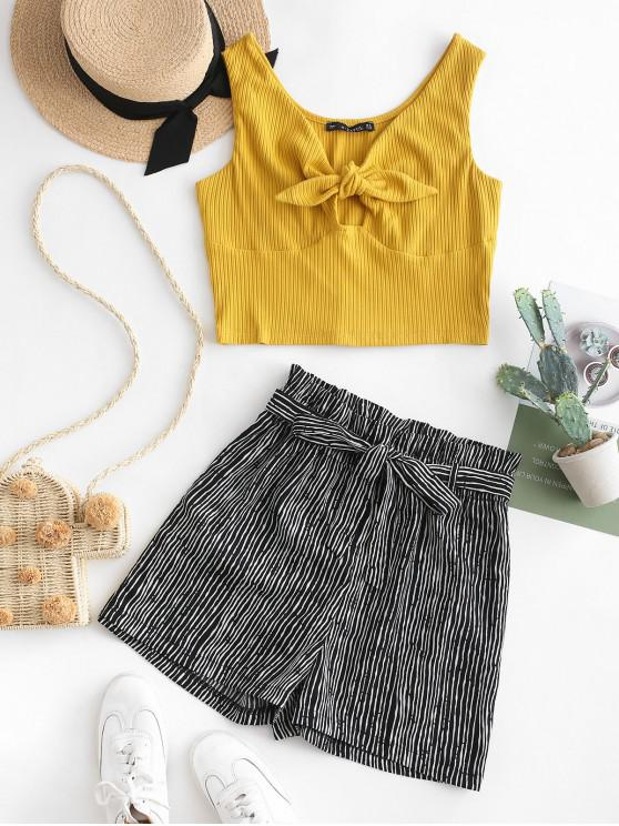 fancy ZAFUL Tie Front Top And Stripes Paperbag Shorts Set - MULTI L