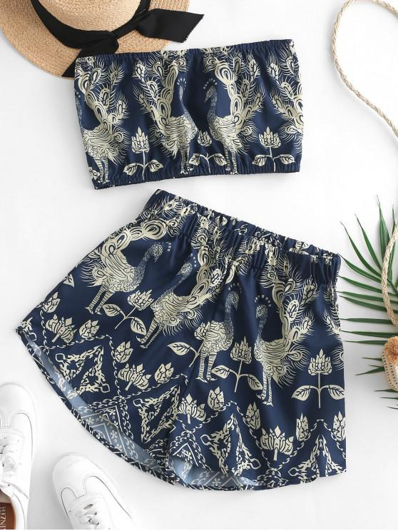 lady ZAFUL Peacock Printed Bandeau Top And Shorts Set - MIDNIGHT BLUE M