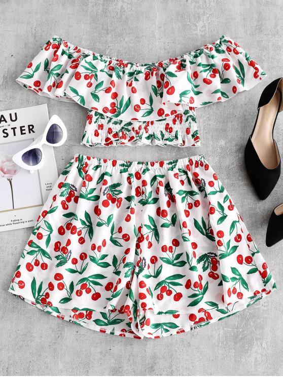 women's ZAFUL Cherry Print Flounce Smocked Two Piece Set - WHITE XL