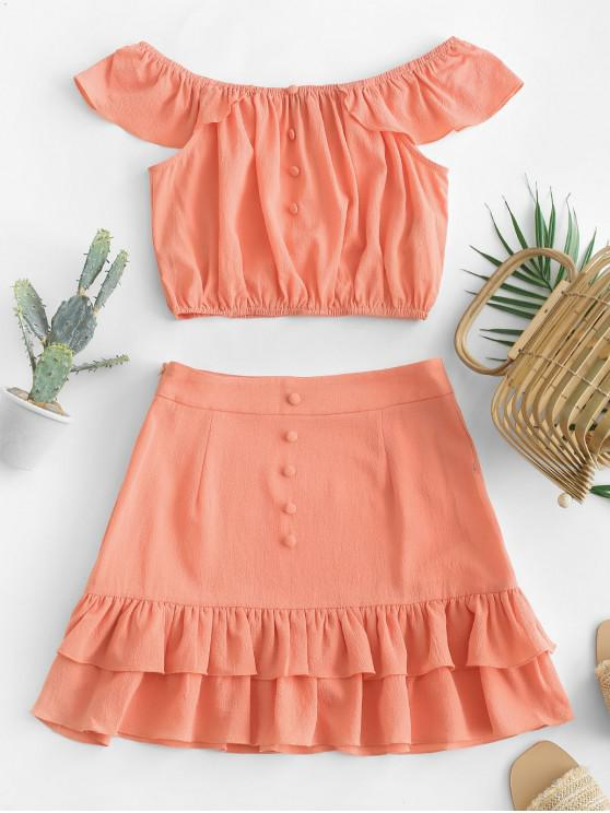 latest ZAFUL Off Shoulder Flounce Layered Two Piece Set - ORANGE L