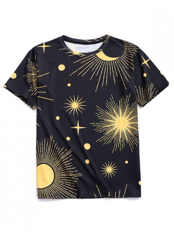 Camiseta casual con estampado de la luna de Sun - Negro 2XL