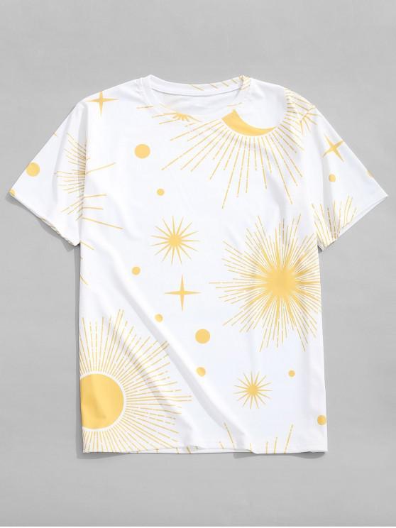 Camiseta casual con estampado de la luna de Sun - Blanco 2XL
