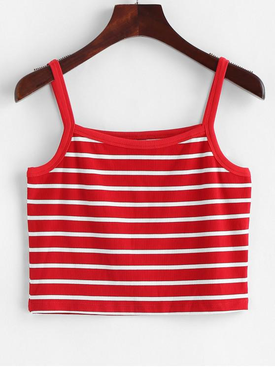hot ZAFUL Ribbed Cropped Stripes Cami Top - LAVA RED M