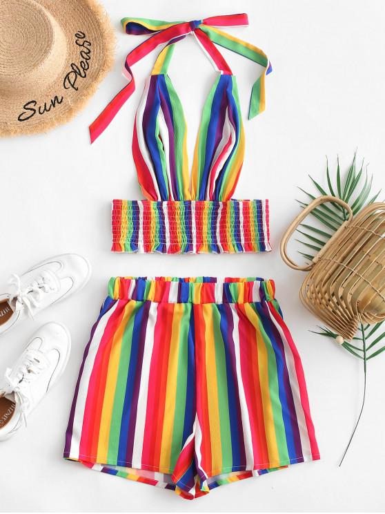 chic ZAFUL Halter Smocked Rainbow Stripes Two Piece Set - MULTI S