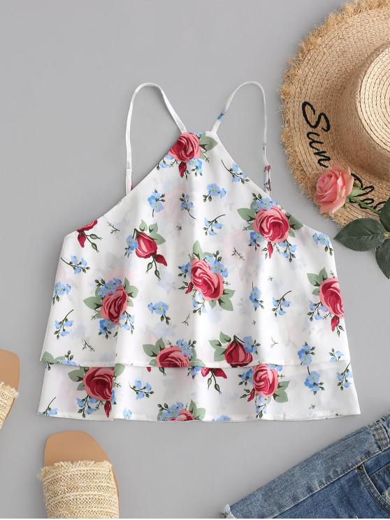 buy ZAFUL Overlay Flower Print Crop Cami Top - WHITE L