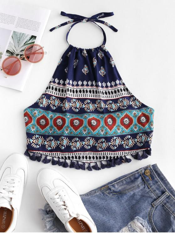 shop ZAFUL Fringed Ethnic Print Knotted Halter Top - MULTI-E L