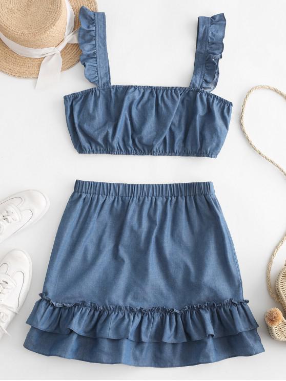 shop ZAFUL Ruffled Trim Denim Crop Top And Mini Skirt - DENIM BLUE L