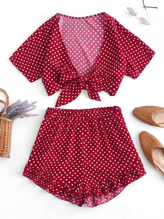 chic ZAFUL Polka Dot Print Knot Front Crop Top and Shorts Set - CHESTNUT RED S