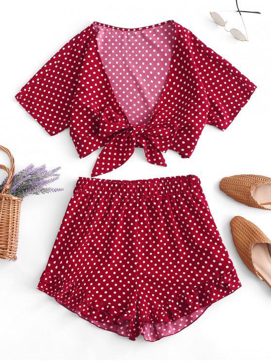 Conjunto de top corto y pantalón corto con estampado de lunares con estampado de lunares ZAFUL - Castaño Rojo XL