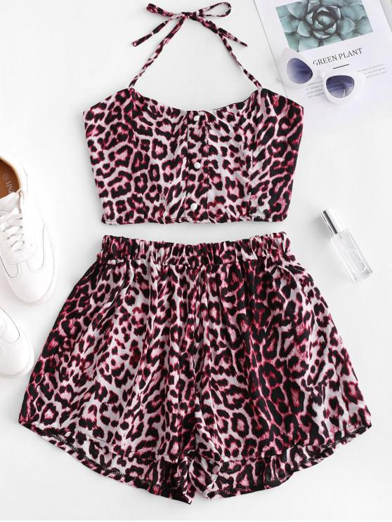 chic Buttons Leopard Print Top and Loose Shorts Set - MULTI L