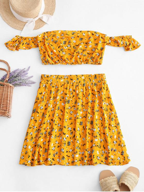 fancy ZAFUL Floral Print Crop Top and Flare Skirt Set - BRIGHT YELLOW M