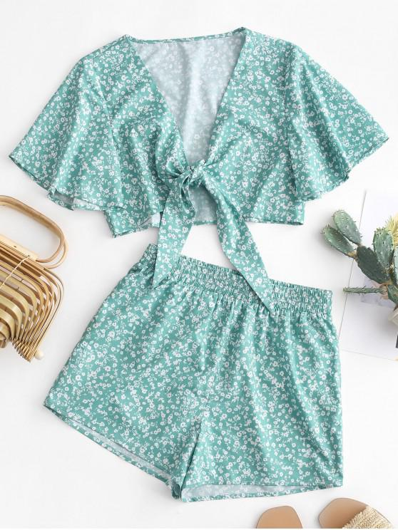 affordable ZAFUL Knotted Ditsy Floral Plunge Blouse and Shorts Set - LIGHT SEA GREEN M