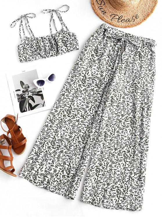 best ZAFUL Tie Shoulder Leaf Print Top and Wide Leg Pants Set - WHITE M