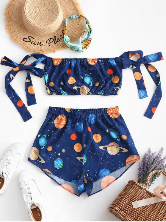 shop ZAFUL Knotted Off Shoulder Galaxy Planet Two Piece Set - BLUEBERRY BLUE L