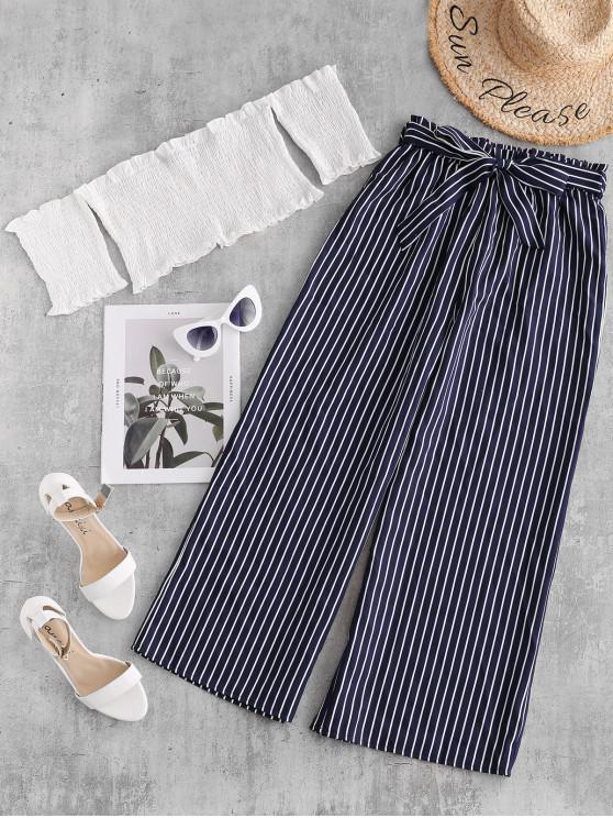latest ZAFUL Smocked Crop Top and Striped Belted Pants Set - MULTI M