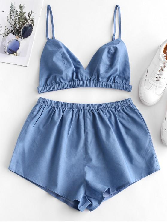 chic ZAFUL Backless Cami Top and Solid Shorts Set - DENIM BLUE M