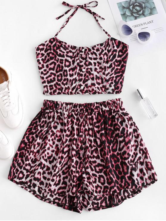 Botones con estampado de leopardo, top y pantalones cortos sueltos - Multicolor XL
