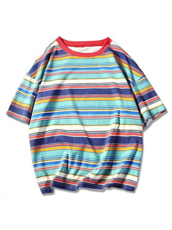 ladies Retro Tribal Stripes Print Short Sleeves T-shirt - GREEN XL