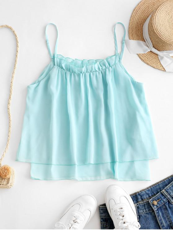 trendy ZAFUL Frilled Chiffon Overlay Cami Top - TRON BLUE M