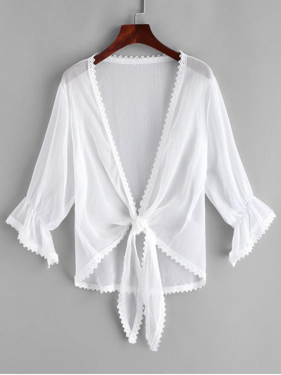 Spitzenbesatz- Krawatte -Schiere- Vertuschung - Weiß Eine Größe