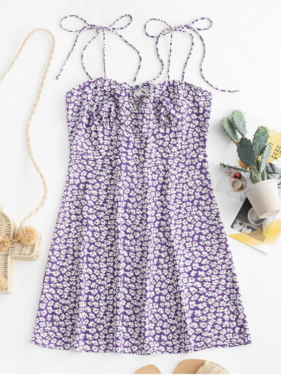 buy ZAFUL Smocked Back Floral Cami Mini Dress - MAUVE L