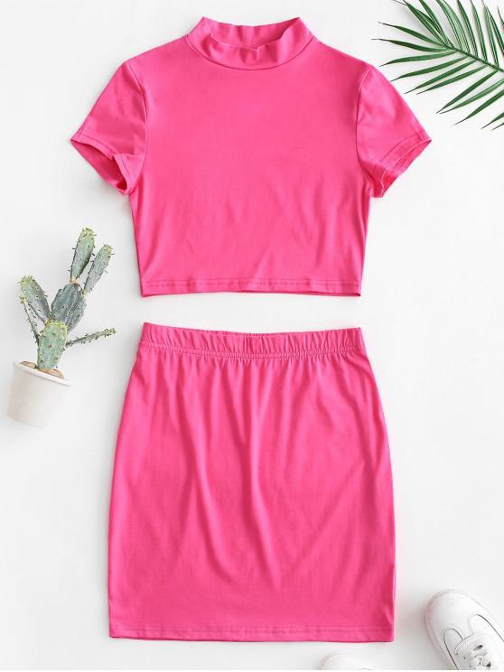 hot Mock Neck Crop Top and Sheath Skirt Set - HOT PINK S