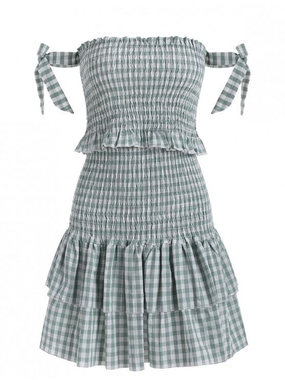lady Smocked Plaid Top and Tiered Skirt Set - GREEN M