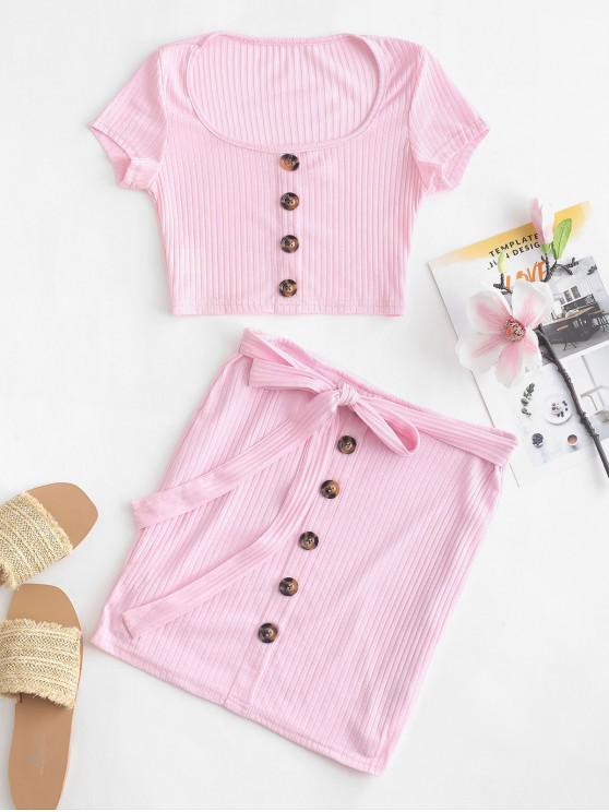 online Button Embellished Ribbed Crop Top and Mini Skirt Set - PIG PINK M