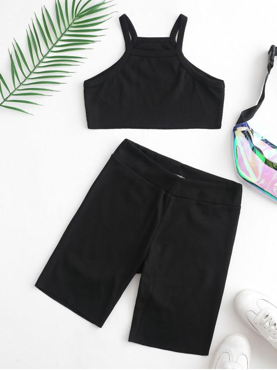 trendy Ribbed Sleeveless Crop Top and Biker Shorts Set - BLACK M