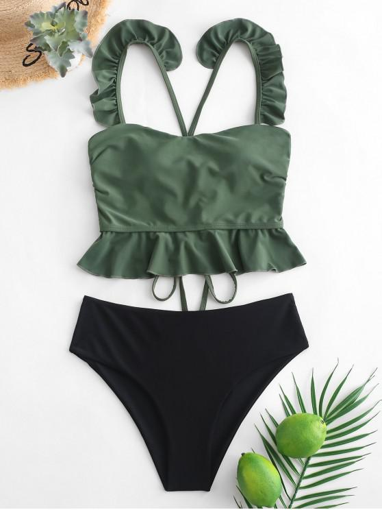 best ZAFUL Ruffle Crisscross Lace-up Tankini Swimsuit - SEA GREEN L