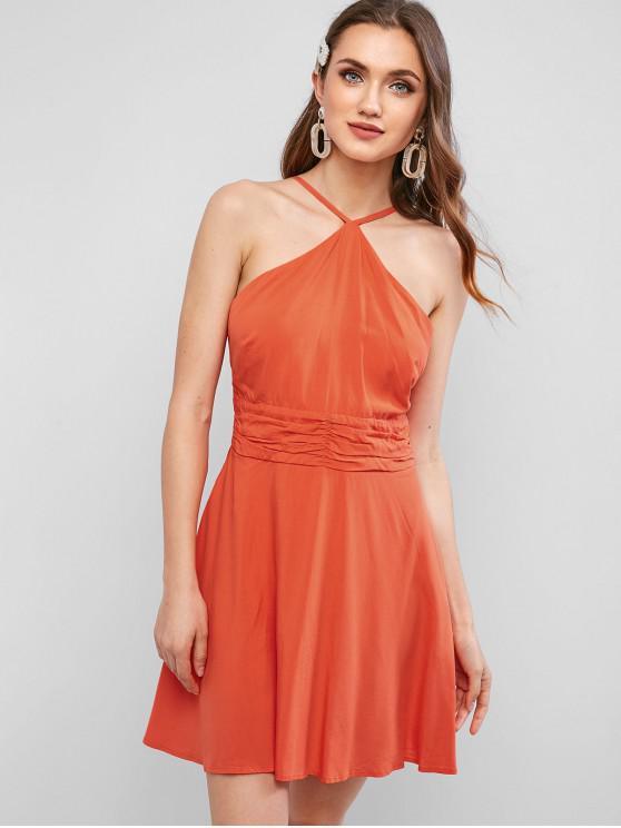 shop ZAFUL Tie Back Ruched Cutaway Dress - PUMPKIN ORANGE L