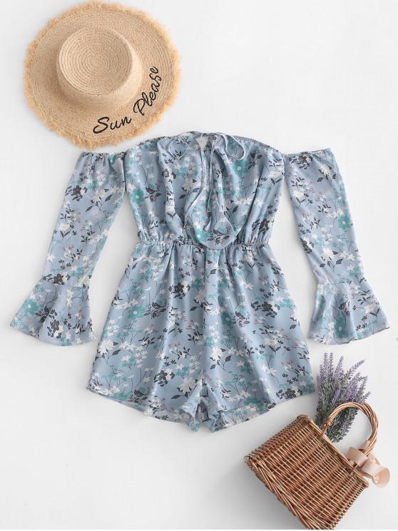 trendy ZAFUL Off The Shoulder Floral Print Surplice Romper - BLUE KOI S