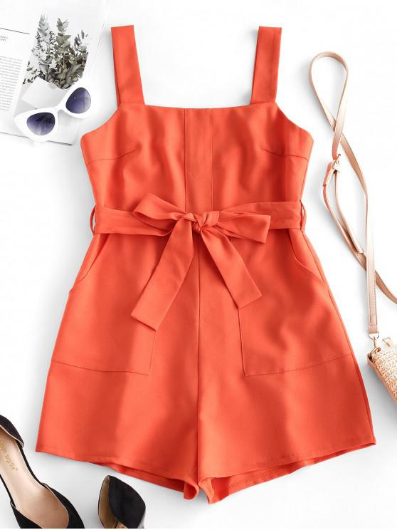 unique ZAFUL Pocket Square Neck Belted Tailored Romper - ORANGE L