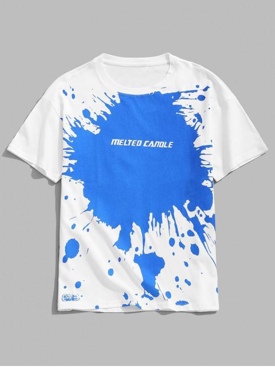Camiseta de manga corta con estampado de letras y pintura de salpicaduras - Blanco 2XL