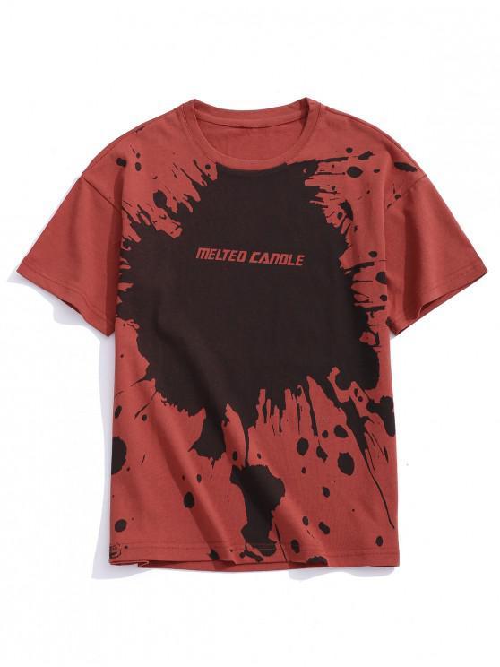 Camiseta de manga corta con estampado de letras y pintura de salpicaduras - Rojo XL
