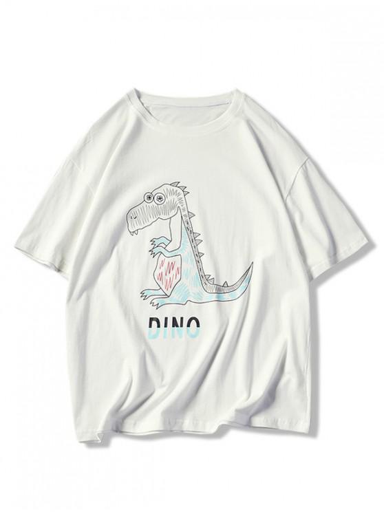 shops Short Sleeves Cartoon Dinosaur Graphic Print T-shirt - WHITE XL