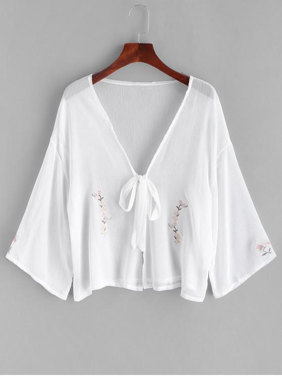 unique Sheer Tie Floral Embroidered Cover-up - WHITE ONE SIZE