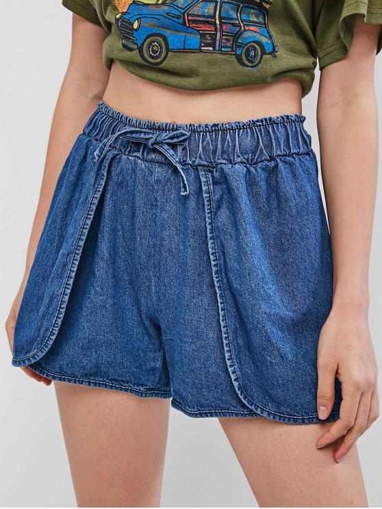 shop Drawstring Tulip Denim Shorts - DENIM BLUE XL