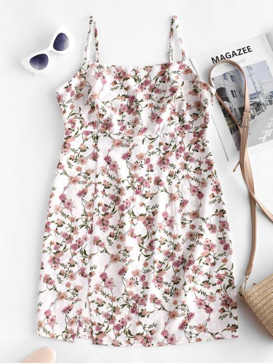 chic ZAFUL Slit Floral Mini Cami Tunic Dress - MILK WHITE S