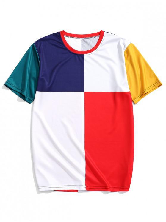 fancy Color Blocking Panel Short Sleeves T-shirt - FANTASTIC 3XL