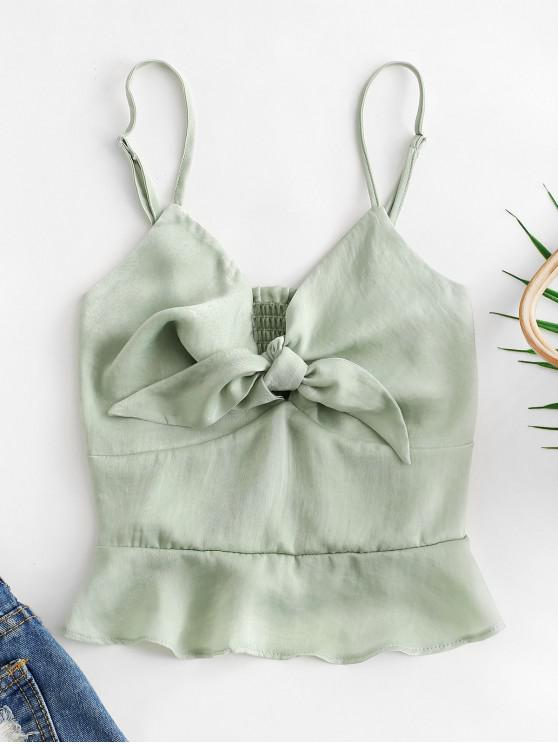 fashion Smocked Back Knotted Crop Cami Top - GREEN S