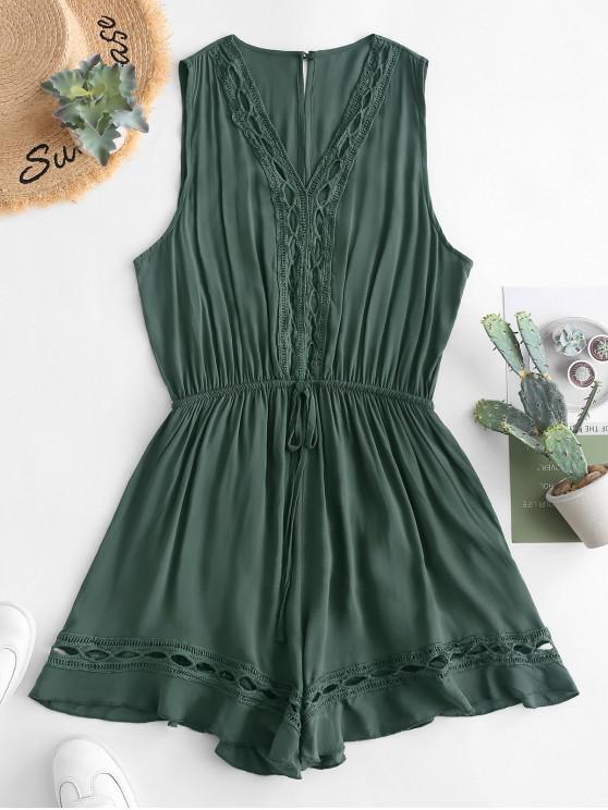 outfits Crochet Panel Knotted Wide Leg Romper - GREEN S