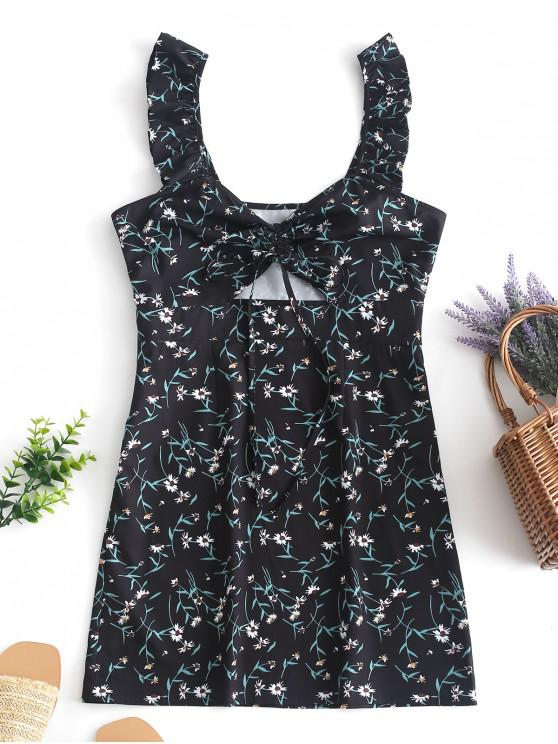 womens ZAFUL Floral Cinched Cut Out Mini Dress - BLACK S