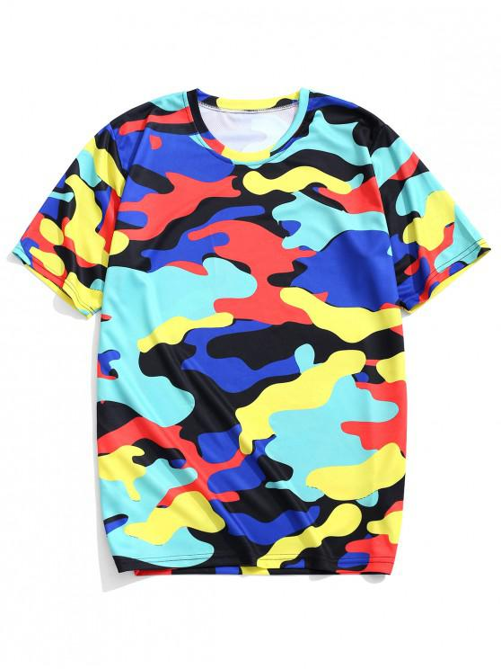latest Colorful Camouflage Print Short Sleeves Casual T-shirt - BLUEBERRY BLUE L