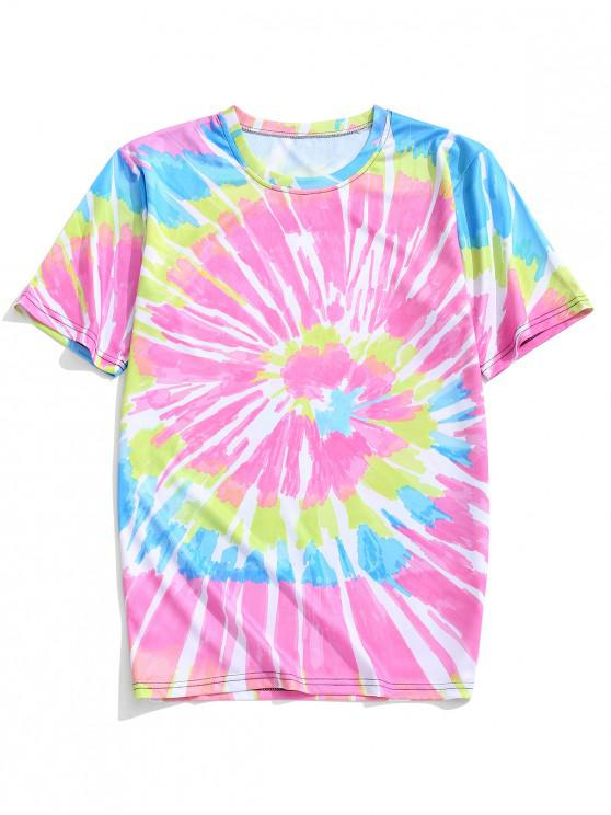 women Colorful Tie Dye Casual Short Sleeves T-shirt - HOT PINK 4XL