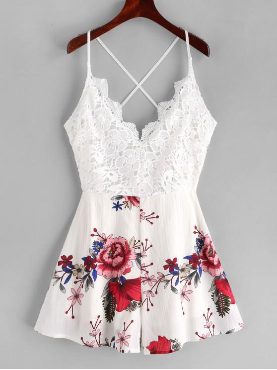 best Lace Panel Criss Cross Floral Cami Romper - MULTI-C L