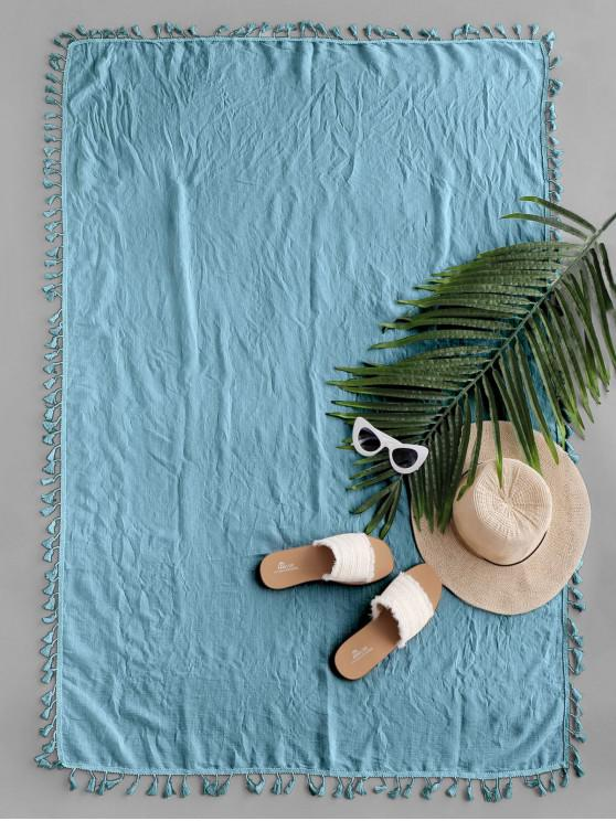 lady Semi-sheer Rectangle Tassel Sunbath Beach Throw Cover - JEANS BLUE ONE SIZE