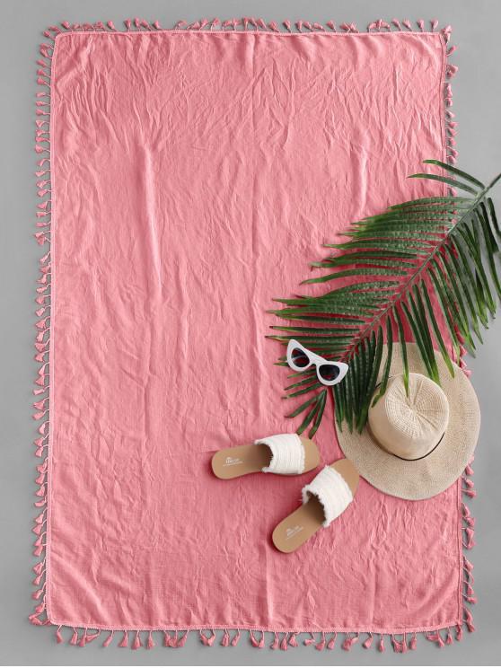 Cubierta de tiro de playa de baño de sol con borla rectangular semi transparente - Rosa Claro Talla única